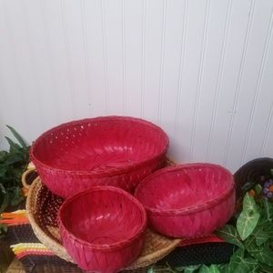 Set of 3 BOHO Red Wicker Woven Bowls